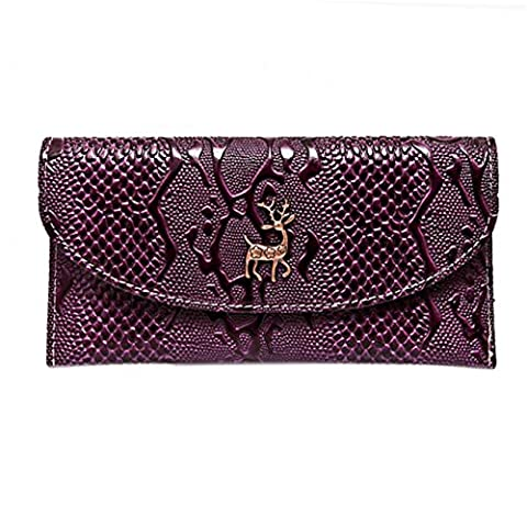 CYBERRY.M Mode Femme Porte-Monnaie Long Zipper Metal NoëL Cerf Portefeuilles Porte-Cartes (Purple)