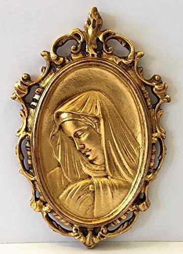 Decoro da parete in legno intagliato finito in foglia oro,sagoma madonnina,cm 28x43