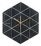 Karlsson Orologio da parete esagonale, finitura marmo, colore nero