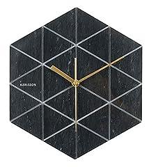 Idea Regalo - Karlsson Orologio da Parete Esagonale, Finitura Marmo, Colore Nero, black, pietra, tondo