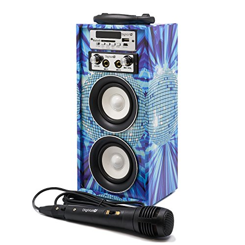 Karaoke DigiVolt HIFI-16 by MovilCom, Bluetooth-Lautsprecher, MP3-Player, USB-Media-Player, Mikrofon, FM-Radio, AUX-Eingang Fernbedienung New York