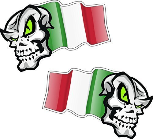 Linkshänder Paar Skull Mascots mit Flying Italien Italienische Flagge Design für Motorrad Helm Auto Aufkleber 100x 65mm je - Stance-tank