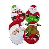 NIKKY HOME 4 Piezas Decoración navideña Cuchillo Tenedor Bolsillo Fieltro Vajilla Estera Decoración