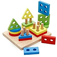 Vi.yo Shape Geometric Sorting Board - Stack Wooden Educational Toy Wood Brain Teaser Puzzles for Kids 3-5 Year Old