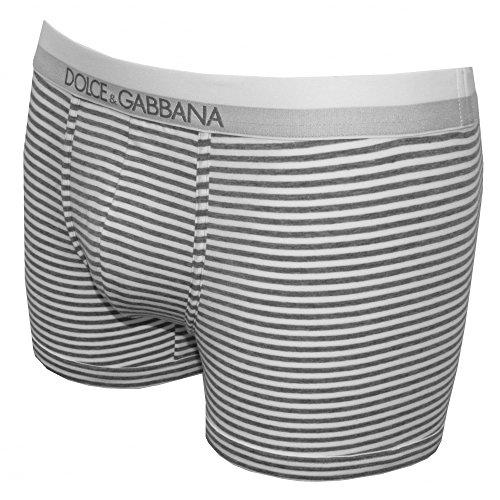 Tronco Di Dolce & Gabbana A Righe Cotone Stretch Uomo Boxer, Grigio/bianco Grigio/Bianco