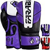 Farabi Pro Safety Tech Fighter MMA, Muay Thai training sparring boxe, kickboxing, guanti (viola/bianco/nero, 396,9gram)