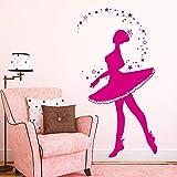 """Wandtattoo Loft Wandaufkleber """"Ballerina mit Sternen"""" - Wandtattoo Tänzerin mit Sternen und Punkten / 49 Farben / 4 Größen / pink / 55 x 103 cm"""