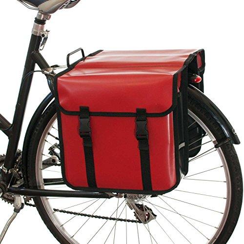 Beluko® Classic Doppel-Fahrradtasche, wasserdicht, fürs Einkaufen mit dem Fahrrad , rot