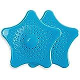 2 x Blau Badwanne Dusche Sieb Schmutzfänger Abflusssieb Ablaufsieb Haarsieb für Waschbecken Spüle Bad Dusche Haar Catcher