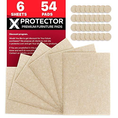 X-Protector Fieltro Adhesivo Deslizadores para Muebles - Premium 6 Fieltro Autoadhesivo 20x16cm & 54 Almohadillas de Fieltro Adhesivos Fieltro es el Producto Que Necesita!