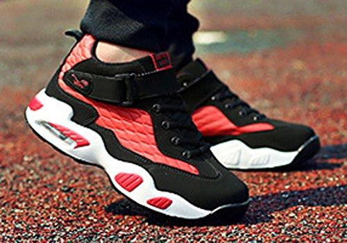 Chukka chaussure courant course courir jogging hauteur cheville épais soulier anti-dérapage imperméable chaude balancé sportif hiver automne homme adulte Rouge