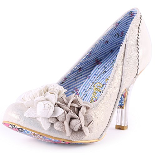 Donna Irregular Choice Mrs Lower Lace Floreale Scarpette Tacco Alto Argento