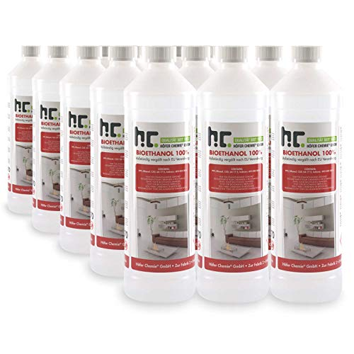 Höfer Chemie 15 L Bioethanol 100{431b8e2cb23a3c7e4643147342697cce1a52226166b2b068db0bd5afe3200cd5} Premium (15 x 1 L) für Ethanol Kamin, Ethanol Feuerstelle, Ethanol Tischfeuer und Bioethanol Kamin