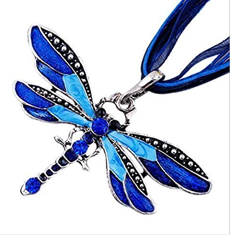 leading-star POP Charm Retro Dragonfly Flossy Necklace Chain Rhinestone