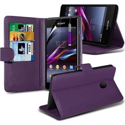 Sony Xperia E1 Custodia portafoglio in pelle con protezione schermo & penna stilo Spyrox, (E1 Ibrida)
