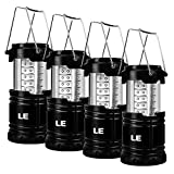 Lighting EVER LE Farol Lámpara Camping Portátil, 30 LED 140lm Carcasa Extensible, luz de Acampada Pack de 4