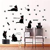 ZXFY carta da parati animale cartone animato gatto nero famiglia soggiorno divano decalcomania casa decorazione poster decorazione domestica 30x60 cm