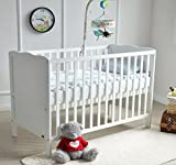 """MCC Wooden Baby Cot Bed Toddler Bed 4"""" Premier Water repellent Mattress Made in England"""