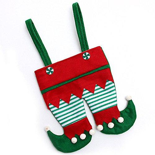 Pinzhi Red Santa Hosen Weihnachten Süßigkeiten Taschen Wein Strumpf Flasche Geschenk Tasche Weihnachtsdekor (Pant Flasche)