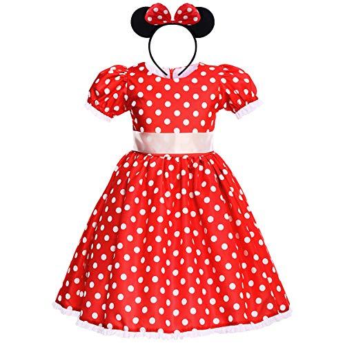 IWEMEK Baby Mädchen Polka Dot Prinzessin Minnie Kostüm A-Line Kleid Geburtstag Halloween Weihnachten Karneval Cosplay Kleid mit Maus Ohren Bowknot Partykleid Outfits Rot 2-3 Jahre