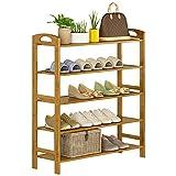 Schuhregal YNN 5-Schicht Einfache Multi-Layer Schuhschrank Staubdichtes Massivholz Haushalt Bambus Racks (Größe : 60*88*26cm)