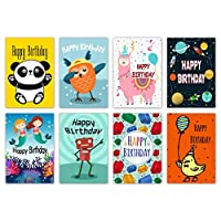 16 Assorted Childrens Birthday Cards & Envelopes by Greetingles for Boys & Girls. Made in UK