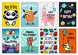 16verschiedene Kinder-Geburtstagskarten & -Umschläge von Greetingles für Jungen & Mädchen.- 8 Designs.- Hergestellt in Großbritannien.