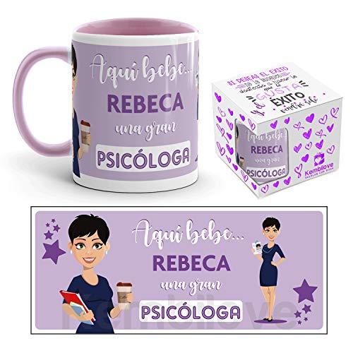 Kembilove Taza de Café de la Mejor Psicóloga del Mundo Personalizada con el Nombre - Taza de Desayuno para la Oficina - Taza de Café y Té para Profesionales - Taza de Cerámica Impresa para Psicólogas