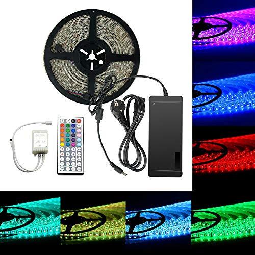 EPBOWPT 5050 SMD 10M 32.8ft RGB 600 LED Streifen Kit 60Leds/M Led Strip Licht Lichtband Lichtstreifen Set IP65 Wasserdicht mit 44 Tasten Fernbedienung + EU Plug DC 24V/5A Netzteil