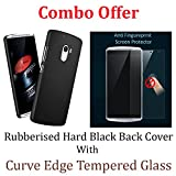 Lenovo K4 Note Combo Pack of 2.5D Curve Edge Tempered glass Screen Protector + Black Color Rubberised Matte Finished Hard Back Case Cover