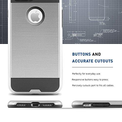 iPhone 7 Hülle, BEZ® Hybrid Silikon Stoßfest Handyhülle Slim Armor Drop Resistance Case Cover Etui für iPhone 7 - Schwarz Silber