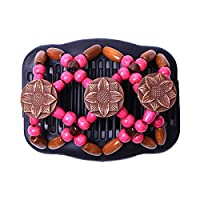 Winwinfly Vintage Magic Beads Double Women Ladies Hair Clip Stretchy Hair Combs Clips Hair Accessories,Rose Red