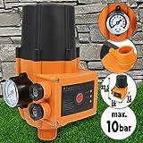 Controlador de Presión Automático - 1,1kW, Presión Máx. 10bar, con Manómetro, Protección IP65 - Interruptor de Control Electrónico de Bomba de Agua, Presostato, Presscontrol