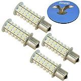 HQRP Paquet de 4 ampoules LED BA15s 66 LEDs SMD 3528 LED Blanc chaud pour #1073 #1093 #1129 + HQRP Sous-verre