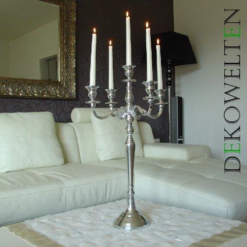 Kerzenleuchter Kerzenständer 60cm 5-flammig vernickelt Silber für Event & Hochzeit mit Samtfuß von Dekowelten