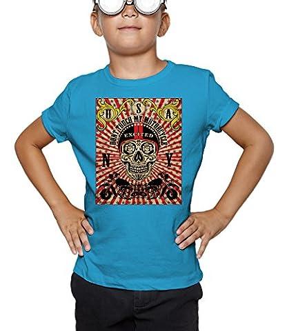 Billion Group   Skull Bike Rider   City Collection   Boys Classic Crew Neck T-Shirt Bleu Small
