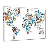 Bilderdepot24 Cuadros en Lienzo Mapa del Mundo los Iconos de los Medios sociales 120x90cm - Enmarcado Listo Bastidor Imagen. Directamente Desde el Fabricante