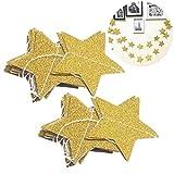 VORCOOL 2 stücke Gold Star Garland für Weihnachten Hochzeit Baby Shower Decor (2 Mt Glitter Golden)