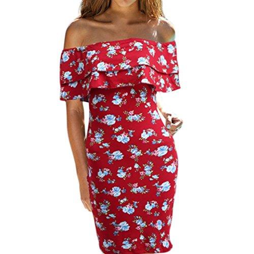 Floral Schulter (Damen Kleid, Beikoard Mode Frauen Kleid Damen off Schulter Floral bedruckt knielangen Kleidung trägerlosen Slim Party Kleid (Rot, S))