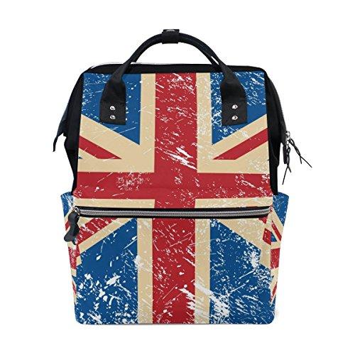 bennigiry Retro Union Jack UK Flagge Wickeltasche Rucksack Große Kapazität Travel Back Pack Wickeltaschen Organizer Multifunktions-Baby Staubbeutel für Mama -