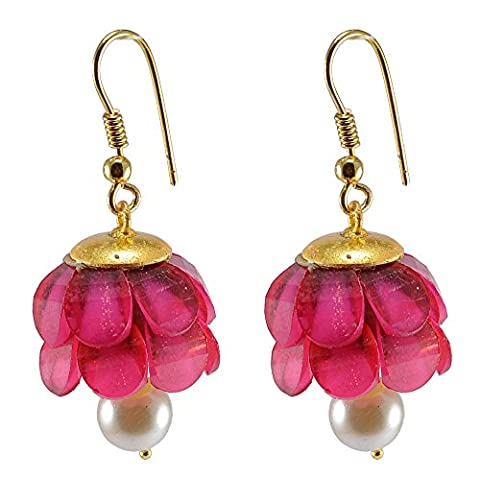Silvestoo India Pink Crystal & Pearl Gold Plated Earring PG-131918