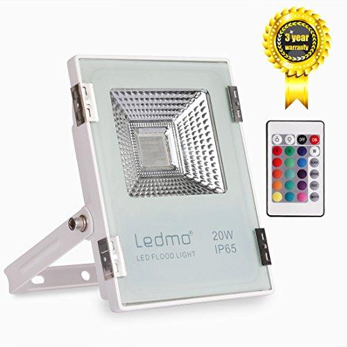 LEDMO 20W Foco LED RGB Proyector LED de colores con control remoto 16 opciones de color 4 Modos luminosos foco exterior IP65 Impermeable 2000lm