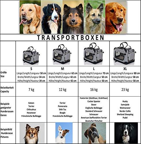 faltbare Hundebox Haustier Transportbox klappbare Autobox 60x42x44 cm gepolstert Katzen Henkel Tragetasche Grau - 3