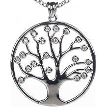 Meranu collane donna albero della vita con cristallo ciondolo pendente - lunga 80 cm (placcato (Nero Pendente Di Vetro Di Murano)