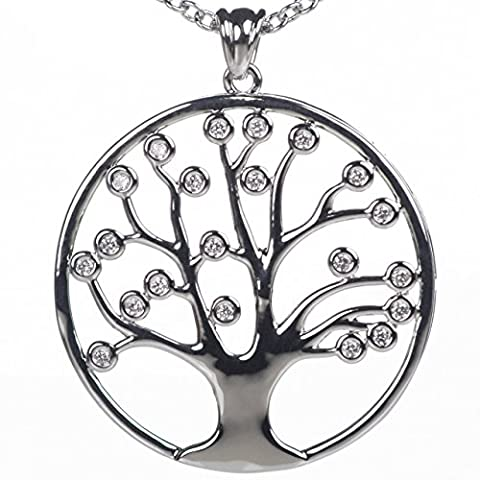 """Meranu Women 925 Silver plated Necklace Lifetree Tree of Life Celtic Crystal Stone Flower with Jewelry Box – 31.5 """" inch"""