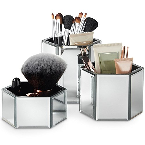 Beautify Set de 3 Pots de Rangement Hexagonaux Miroir Maquillage, Brosses, Bijoux et Accessoires - Tissu de Nettoyage pour Miroir