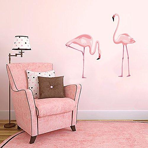 Foto de DecalMile Rosa Flamenco Vinilos Animales Pegatinas De Pared Desmontable Adhesivos Decorativos Para Sala De Estar Dormitorio