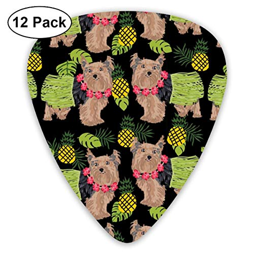 Yorkie Hula Dog - Yorkshire Terrier Dog, Yorkie Hula, Pineapple Hawaii - Black_1149 Classic Celluloid Picks, 12-Pack, For Electric Guitar, Acoustic Guitar, Mandolin, And Bass
