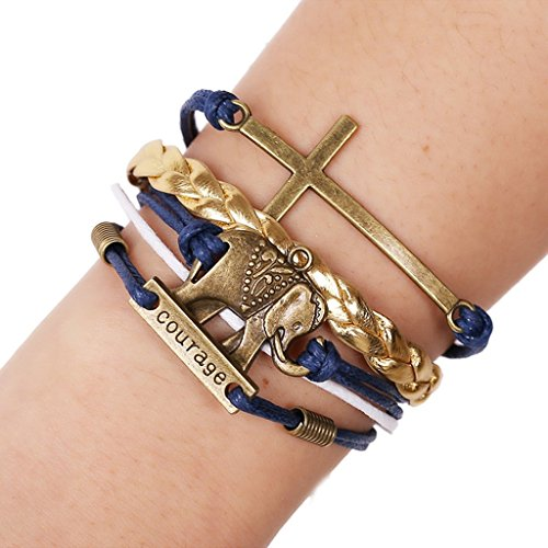 Bishilin Elefant/Kreuz KombiNationalitätskarten/Buchstaben Handgefertigt Blau Leder Manschette Wickeln Armreif Armband