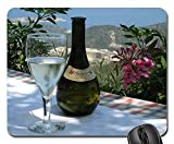 Mouse Pads - Wine Retsina Greece Glass Bottle View Flowers Non-Slip Mouse pad